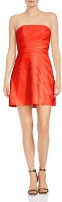 Halston Strapless Satin-Detail Crepe Mini Dress