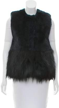 Co Collarless Fur Vest