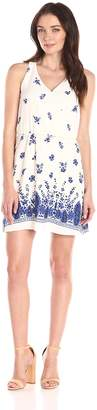 Collective Concepts Women's Floral-Printed Dress with Border, White/Blue