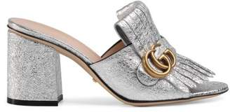 Gucci Metallic leather mid-heel slide