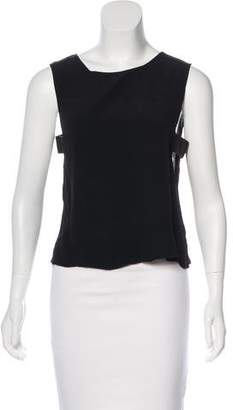 Veda Sleeveless Leather-Accented Top