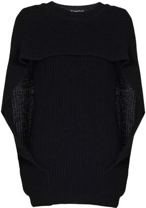 Cara Rumour London Cape-Effect Merino Wool Ribbed Knit Sweater