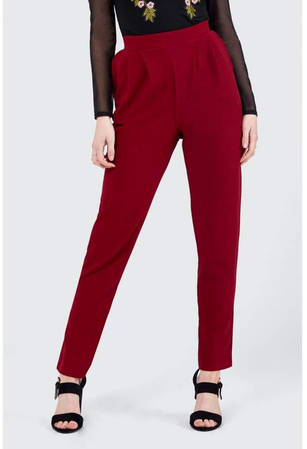 Jersey Pleat Peg Leg Trousers