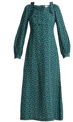 Masscob Provence Floral Print Silk Midi Dress - Womens - Green Multi