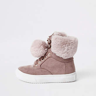 River Island Mini girls pink suede faux fur pom high tops