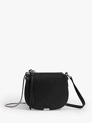 df8919069 AllSaints Captain Mini Round Leather Cross Body Bag, Black