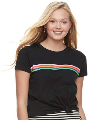 Love, Fire Love Fire Juniors' Striped Tie-Front Tee