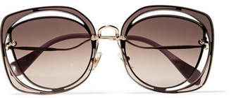Miu Miu Scenique Square-frame Cutout Acetate And Gold-tone Sunglasses