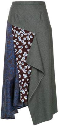 Le Ciel Bleu asymmetric pattern mix skirt