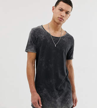Asos Design DESIGN Tall relaxed super longline t-shirt with scoop neck and curved hem in acid wash