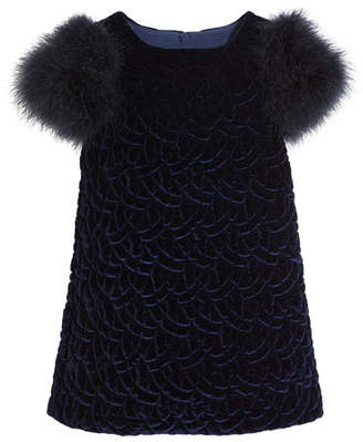 Charabia Belinda Quilted Velvet Dress w/ Feather Sleeves, Size 10-12