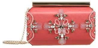 Oscar de la Renta Crystal & Bead Embellished Satin Clutch