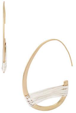 Robert Lee Morris SOHO Crystal Two-Tone Wire-Wrapped Half Hoop Earrings