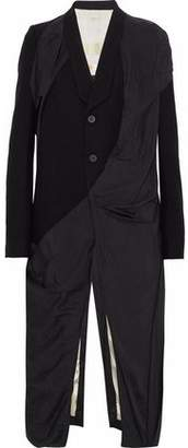 Rick Owens Draped Shell-Paneled Wool Coat