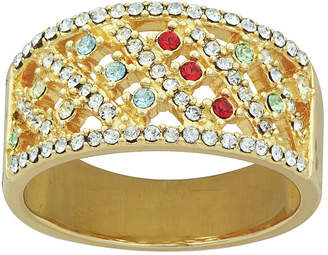 FINE JEWELRY 14K Yellow Gold Over Silver Multicolor Crystal Ring