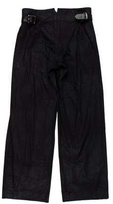 John Bartlett Belt-Accented Wide-Leg Pants
