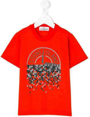 Stone Island Junior pixelated logo print T-shirt