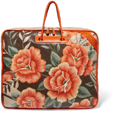 Balenciaga Balenciaga - Blanket Xl Floral-print Textured-leather Tote - Orange