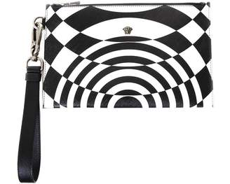 Versace Black & White Nylon Clutch