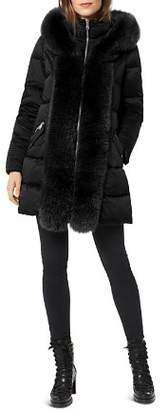 One Madison Fox Fur Placket Puffer Coat