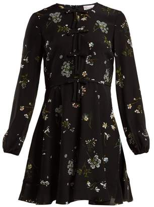 RED Valentino Floral Print Silk Chiffon Mini Dress - Womens - Black Multi