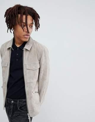 AllSaints Suede Biker Jacket In Grey