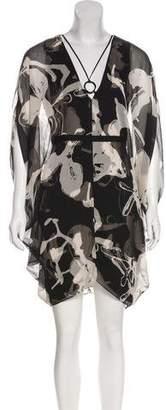Halston Sheer Plunge Neck Mini Dress