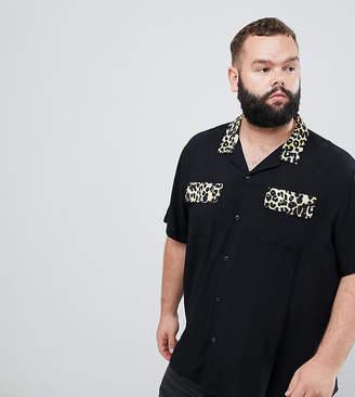 Asos DESIGN Plus regular fit viscose shirt with leopard revere collar