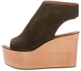 CelineCéline Suede Wedge Sandals