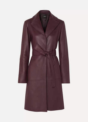 Theory Leather Trench Coat - Burgundy