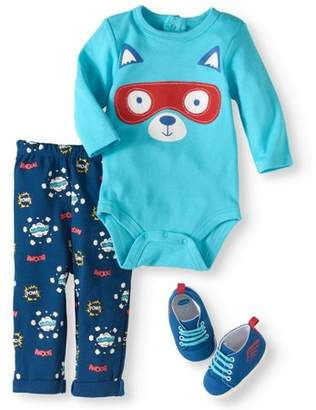 Bon Bebe Newborn Baby Boy Bodysuit, Pants & Sneaker, 3pc Outfit Set