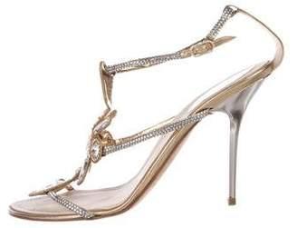 Rene Caovilla Jewel-Embellished T-Strap Sandals