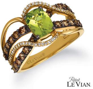 LeVian CORP Grand Sample Sale By Le Vian Green Apple Peridot 1 CT. T.W. Vanilla Diamonds & Chocolate Diamonds 14K Honey Gold Ring