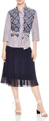 Sandro Josefine Pleated Eyelet-Lace Midi Dress