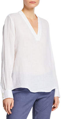 c4891577cf 120% Lino V-Neck Long-Sleeve Linen Tunic