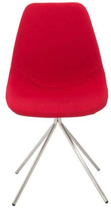 Euro Style Dax Side Chair, Red/Brushed Stainless Steel