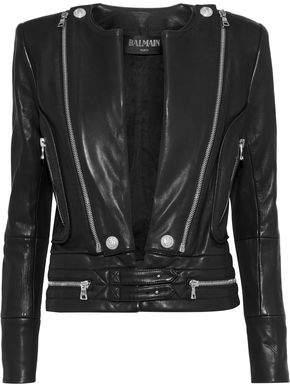 Balmain Zip-Detailed Leather Jacket