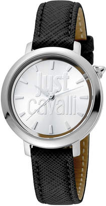 Just Cavalli 34mm Logomania Watch w/ Leather Strap, Black