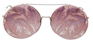 Matthew Williamson x Linda Farrow Metallic Round Sunglasses
