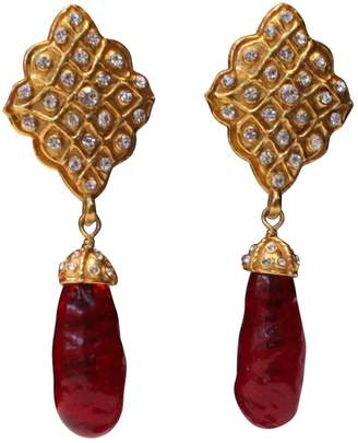 Chanel Vintage Red Metal Earrings