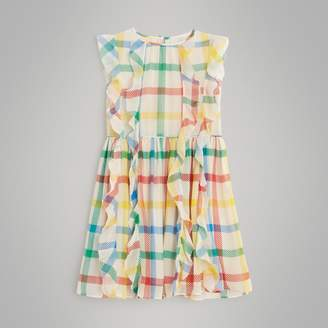Burberry Ruffle Detail Check Silk Chiffon Dress