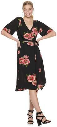 Trixxi Juniors' Print Faux-Wrap Midi Dress