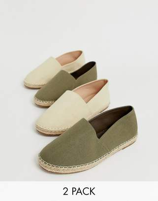 Truffle Collection two pack espadrilles in beige and khaki