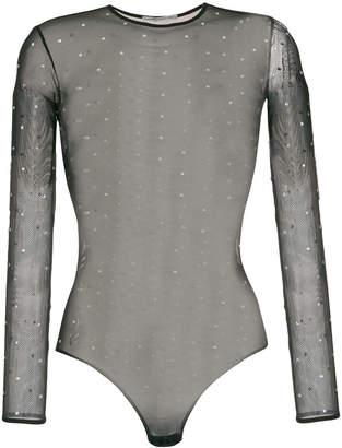 Alessandra Rich sheer long-sleeve top