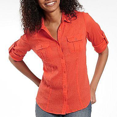 JCPenney St. John's Bay® Gauze Roll-Sleeve Shirt