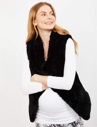 A Pea in the Pod Drape Front Faux Fur Maternity Vest