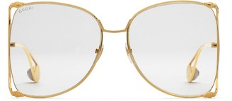 Gucci Oversize round-frame metal glasses