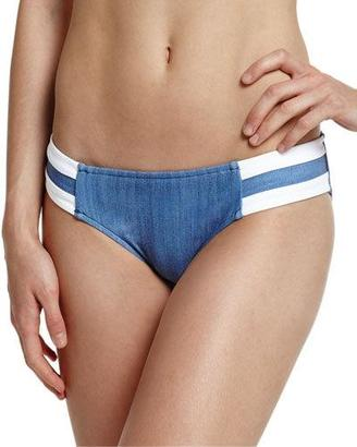 Seafolly Block Party Spliced Hipster Swim Bottom, Denim $67 thestylecure.com