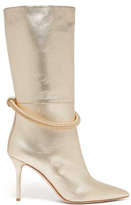 Malone Souliers Sofia Braided Anklet Leather Boots - Womens - Gold