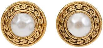 One Kings Lane Vintage Chanel Pearl Satin Clip Earrings - Vintage Lux